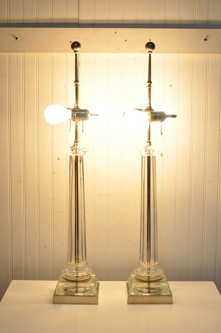 American Pair of Elegant Table Lamps Attributed to Paul Hanson For Sale