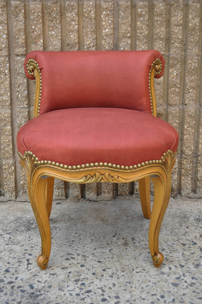 French Hand Carved Rolled Back Leather Vanity Chair In