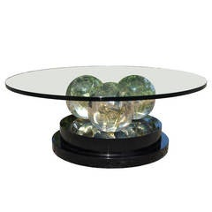 Triple Spherical, Fractured Resin Coffee Table after Pierre Giraudon