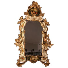 "Italian 62"" Gold Giltwood Chinoiserie Japanned Large Rococo Console Wall Mirror"