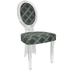 Oval Back Lucite Vanity Chair Attributed to Charles Hollis Jones for Hill Mfg