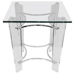 Lucite Chrome and Glass Square Side Table after Charles Hollis Jones