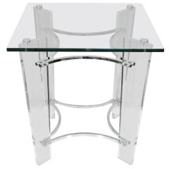 MCM Lucite Chrome Glass Square Sculptural Side Table after Charles Hollis Jones