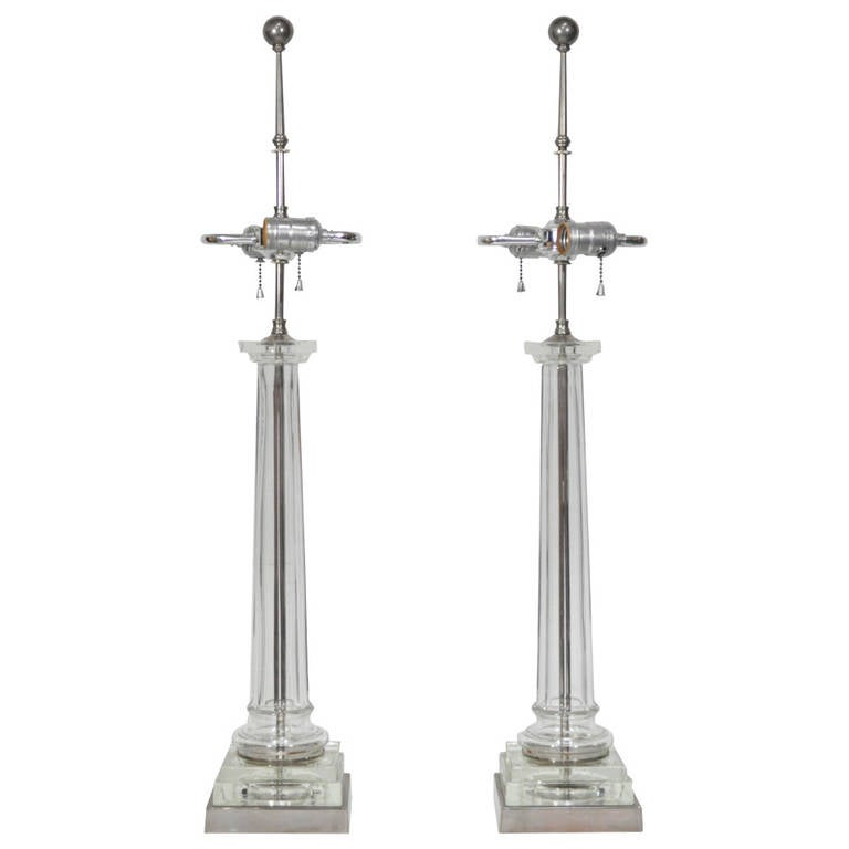 Pair of Elegant Table Lamps Attributed to Paul Hanson For Sale
