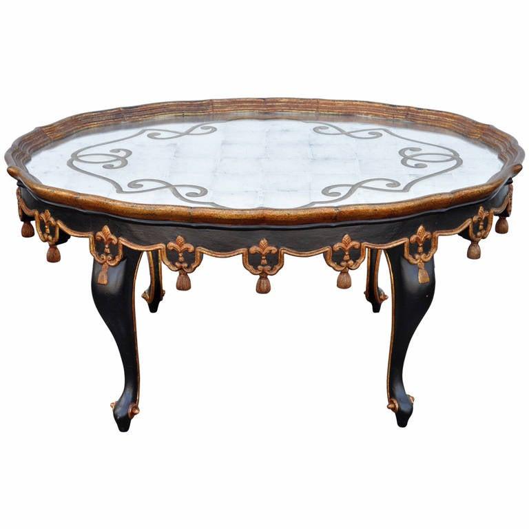 Black U0026 Gold Tassel And Églomisé Mirror Top Coffee Table French Louis XVI  Style 1
