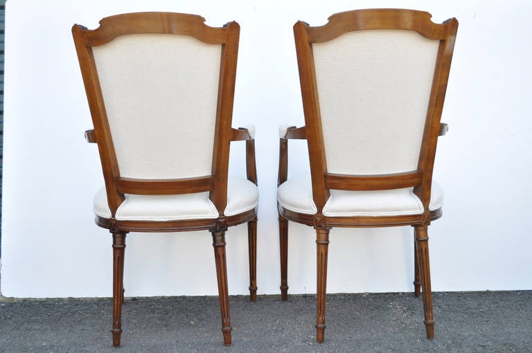 Set Of Six Carved Walnut French Louis XVI Style Upholstered Dining Chairs At