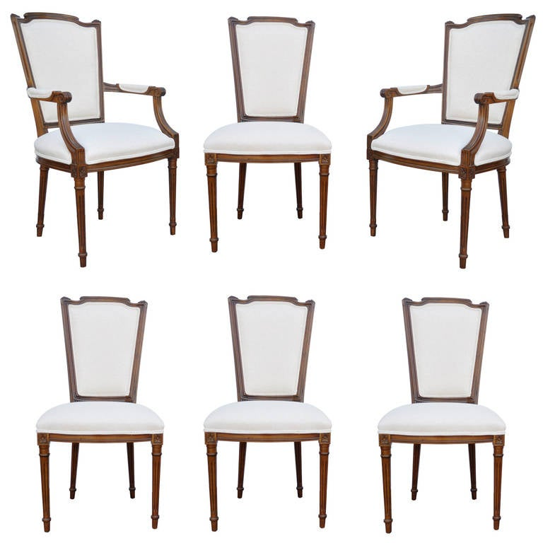 Set Of Six Walnut French Country Louis XVI Style Upholstered Dining Room Chairs For Sale