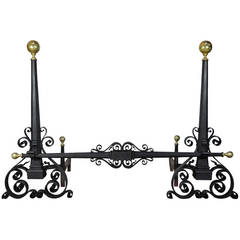 Antique Hand-Wrought Iron and Brass Arts & Crafts Andirons after Samuel Yellin