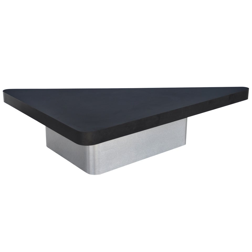 Large Space Age Mid Century Modern Triangular Steel Black Laminate Coffee Table