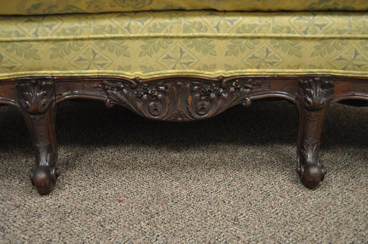 19th Century Georgian Style Rolled Arm Carved Mahogany Antique Curved Sofa For Sale 3
