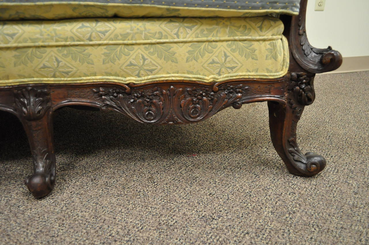 19th Century Georgian Style Rolled Arm Carved Mahogany Antique Curved Sofa For Sale 2