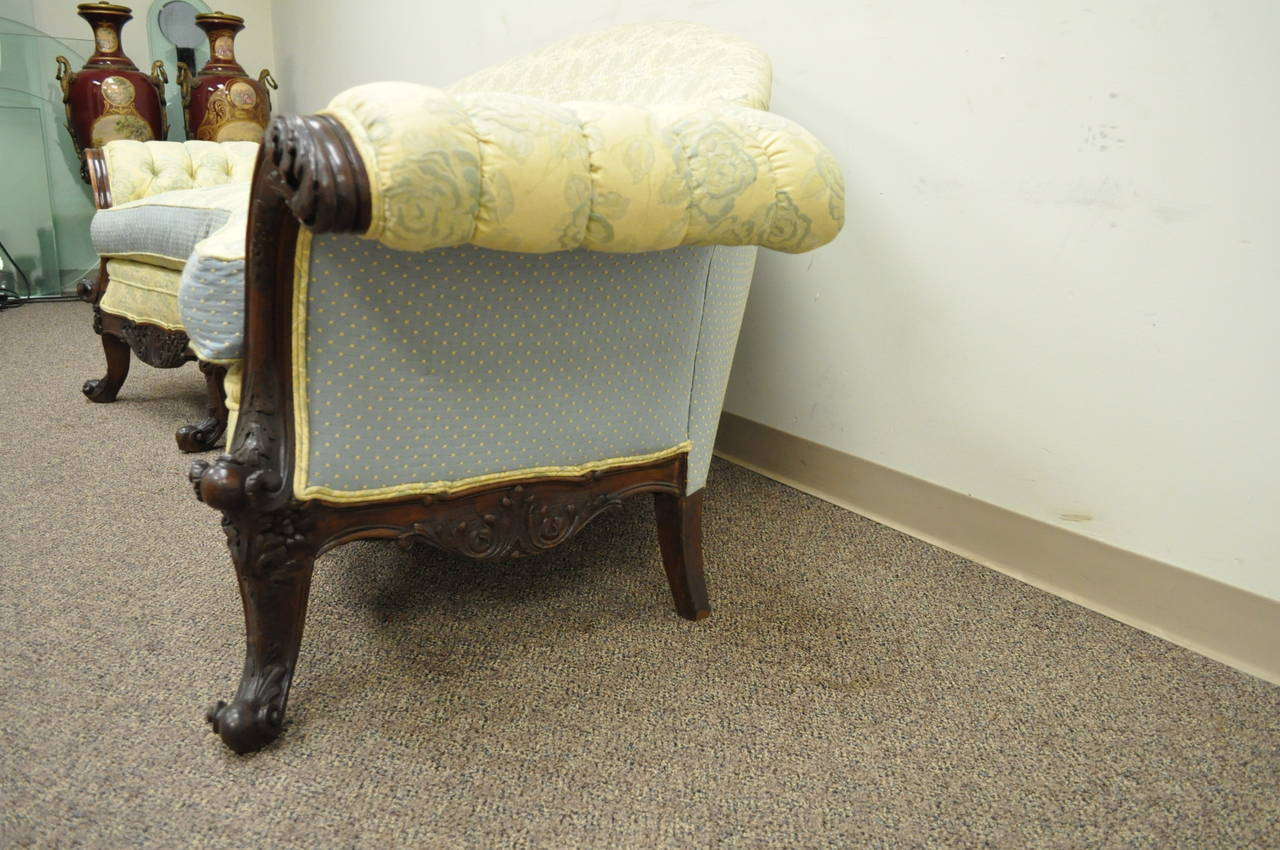19th Century Georgian Style Rolled Arm Carved Mahogany Antique Curved Sofa For Sale 4