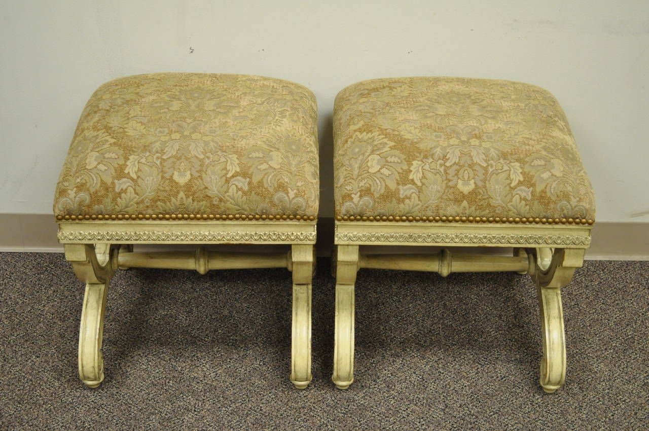 Pair of 20th Century Carved Wood and Upholstered X-Form Curule Benches or Stools 8