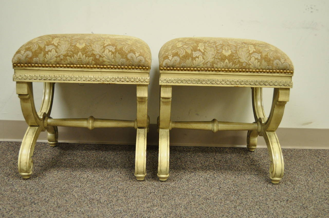Pair of 20th Century Carved Wood and Upholstered X-Form Curule Benches or Stools 5