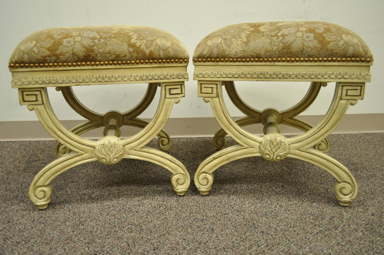 Pair of 20th Century Carved Wood and Upholstered X-Form Curule Benches or Stools 2