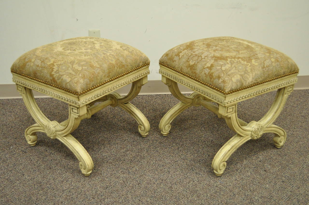 Pair of 20th Century Carved Wood and Upholstered X-Form Curule Benches or Stools 6