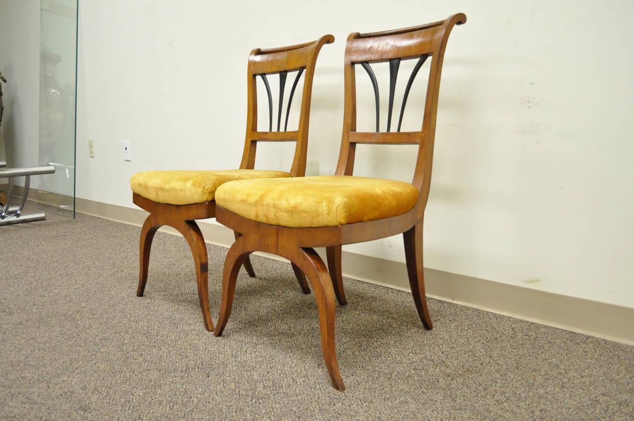 Pair of 19th C Biedermeier Ebonized & Burl Walnut Curule Base Side Accent Chairs For Sale 4