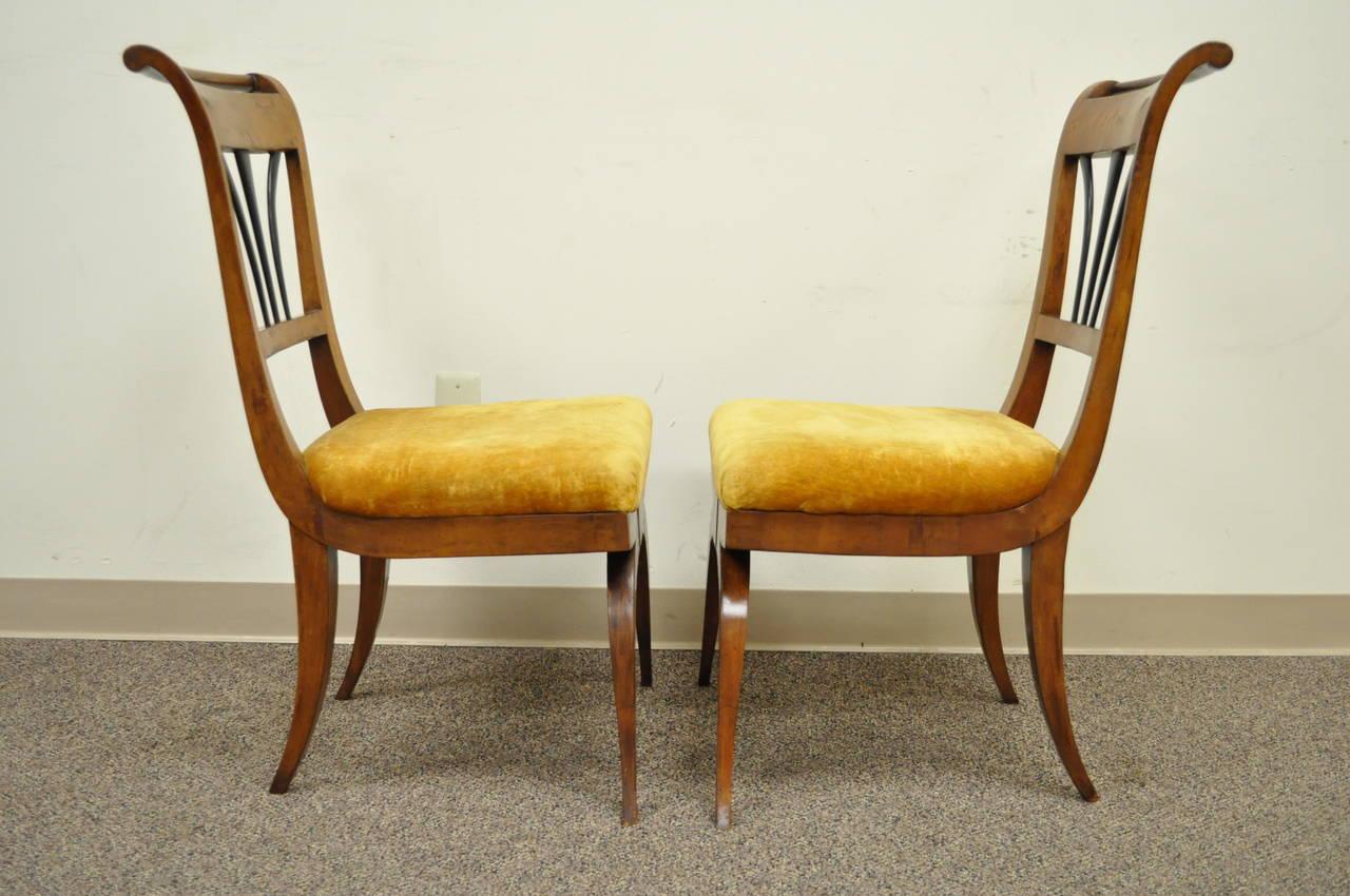 European Pair of 19th C Biedermeier Ebonized & Burl Walnut Curule Base Side Accent Chairs For Sale