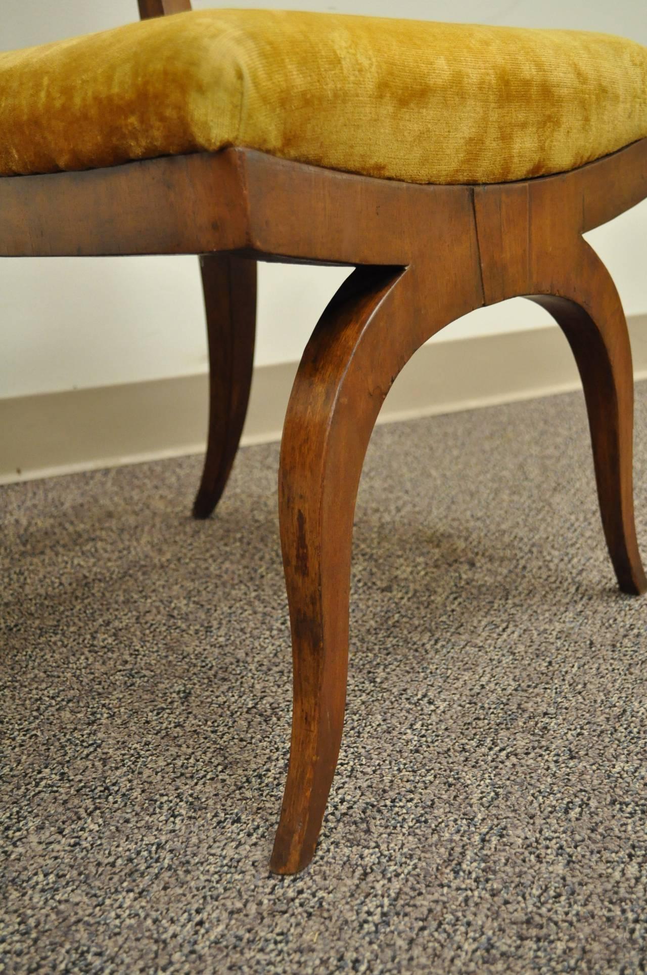 19th Century Pair of 19th C Biedermeier Ebonized & Burl Walnut Curule Base Side Accent Chairs For Sale