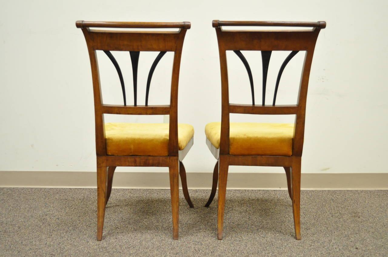 Pair of 19th C Biedermeier Ebonized & Burl Walnut Curule Base Side Accent Chairs For Sale 3