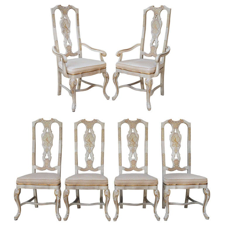 6 Chinoiserie Oriental Gold Gilt Painted Dining Chairs By Drexel Heritage For