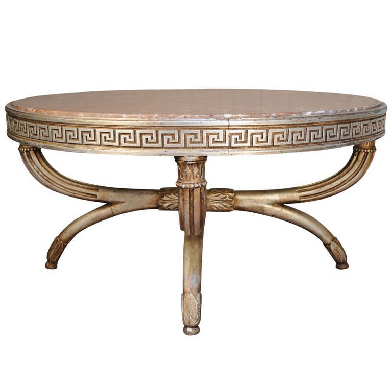 Vintage Neoclassical Style Greek Key Polychrome Painted Marble Top Coffee Table At 1stdibs