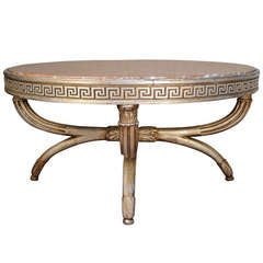 Vintage Neoclassical Style Greek Key Polychrome Painted Marble Top Coffee Table