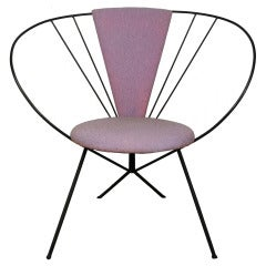 Vintage Wrought Iron Hoop Lounge Chair after Jean Royere and Tony Paul