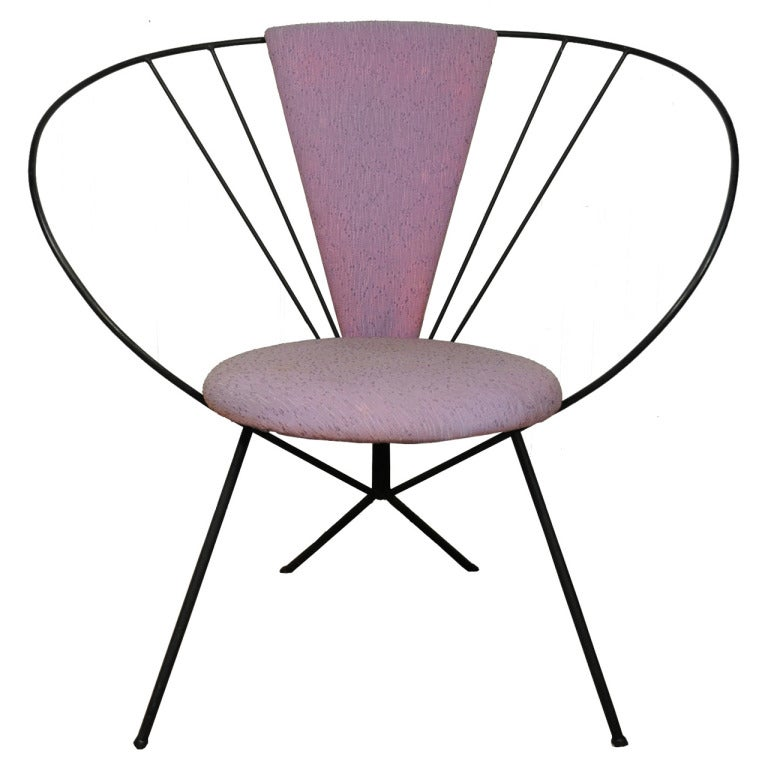 Vintage Wrought Iron Hoop Lounge Chair after Jean Royere and Tony Paul For Sa