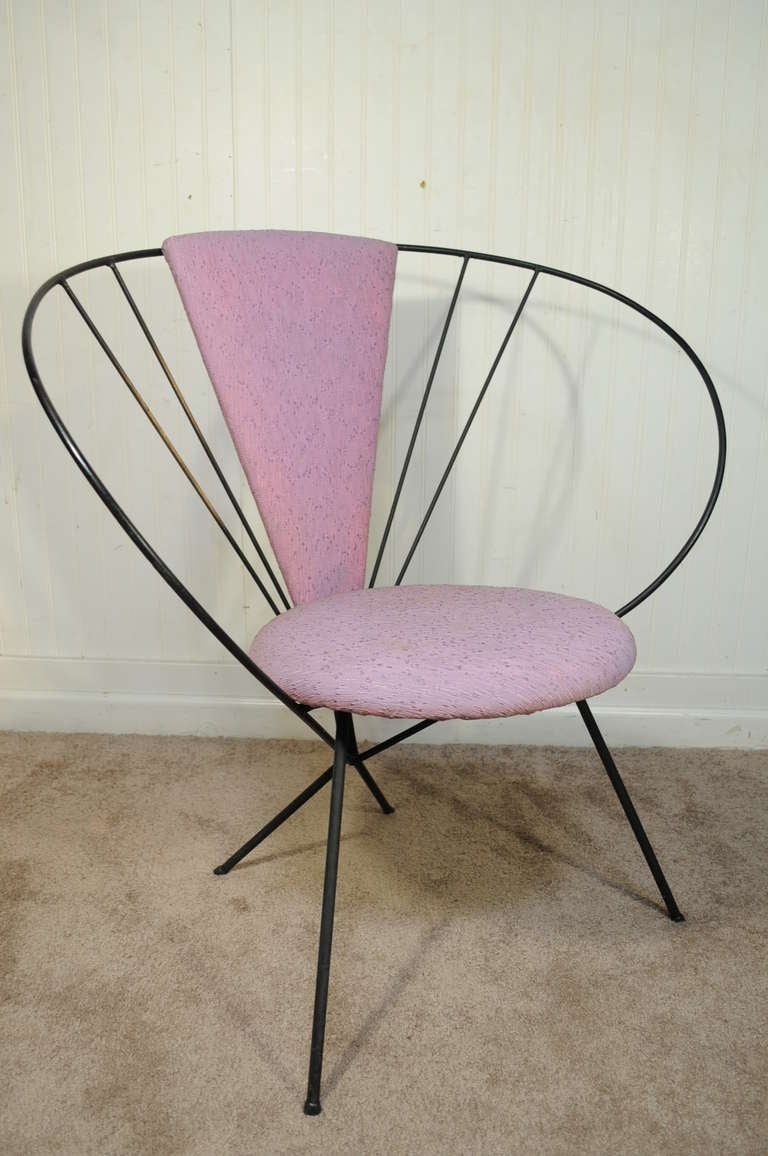 Vintage Wrought Iron Hoop Lounge Chair after Jean Royere ...