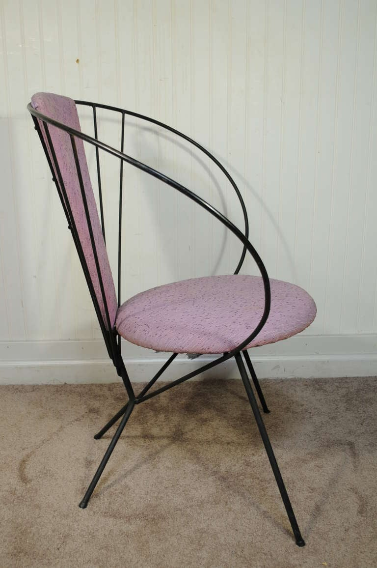 Vintage Wrought Iron Hoop Lounge Chair After Jean Royere