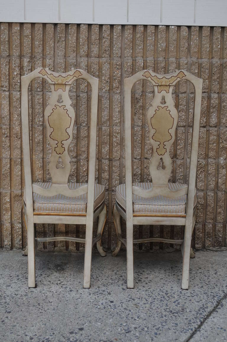 6 chinoiserie oriental gold gilt painted dining chairs by