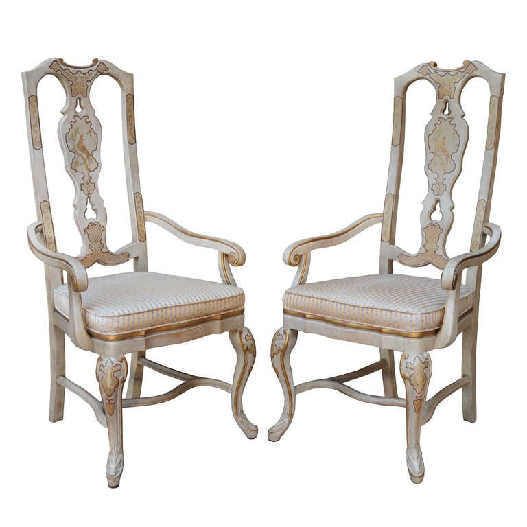 6 Chinoiserie Oriental Gold Gilt Painted Dining Chairs By Drexel Heritage At