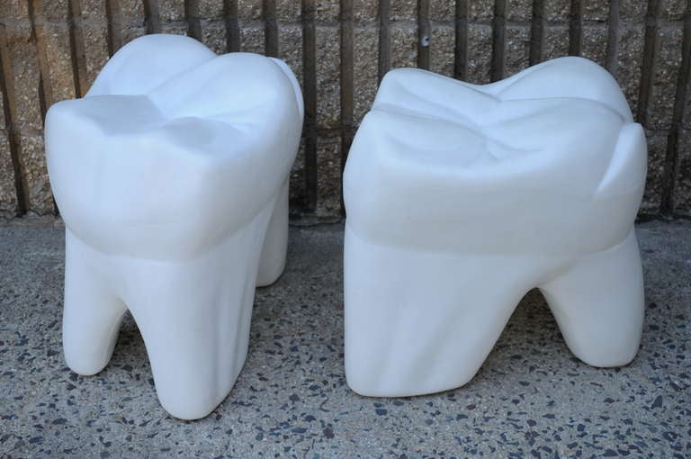 2 Giant Vintage 1981 Molded Plastic Pop Art Teeth Stools