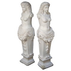 "Pair of 39"" Tall Hand Carved Marble Greek Female Maiden Mantle Statues"