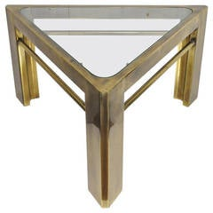 Mastercraft Hollywood Regency Brass and Glass Triangle Accent or Side Table