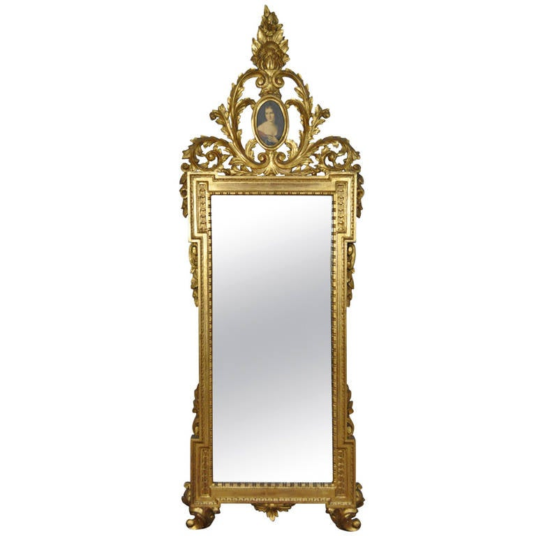 Italian Gold Gilt Carved Wall Mirror in the French Rococo Taste with Cameo