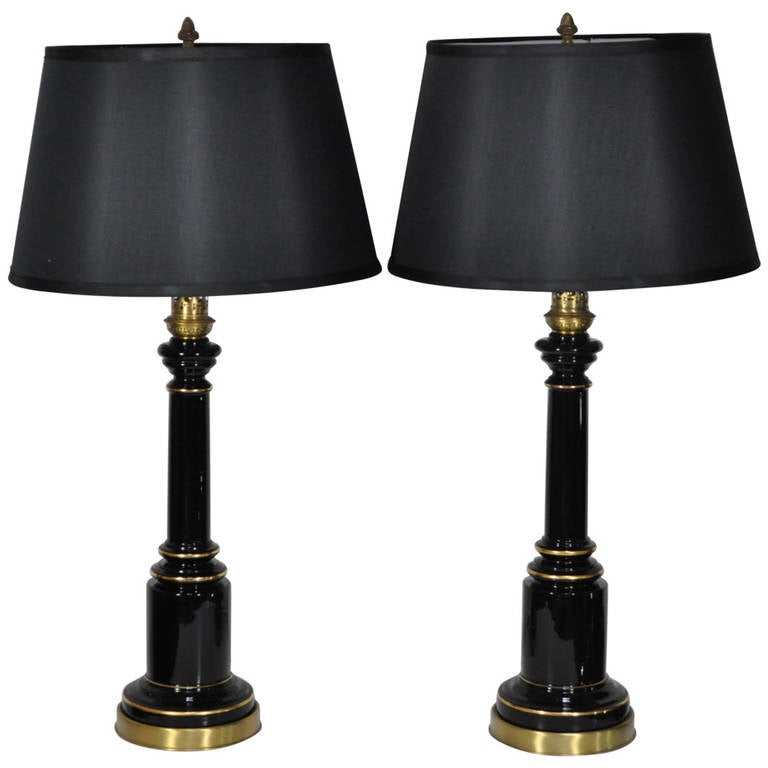 Vintage Neoclassical Or Regency Style Black Glass And Brass Table Lamps For  Sale