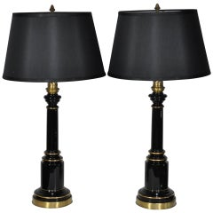 Pair Neoclassical French Empire Style Black Glass Column Shaft Table Lamps