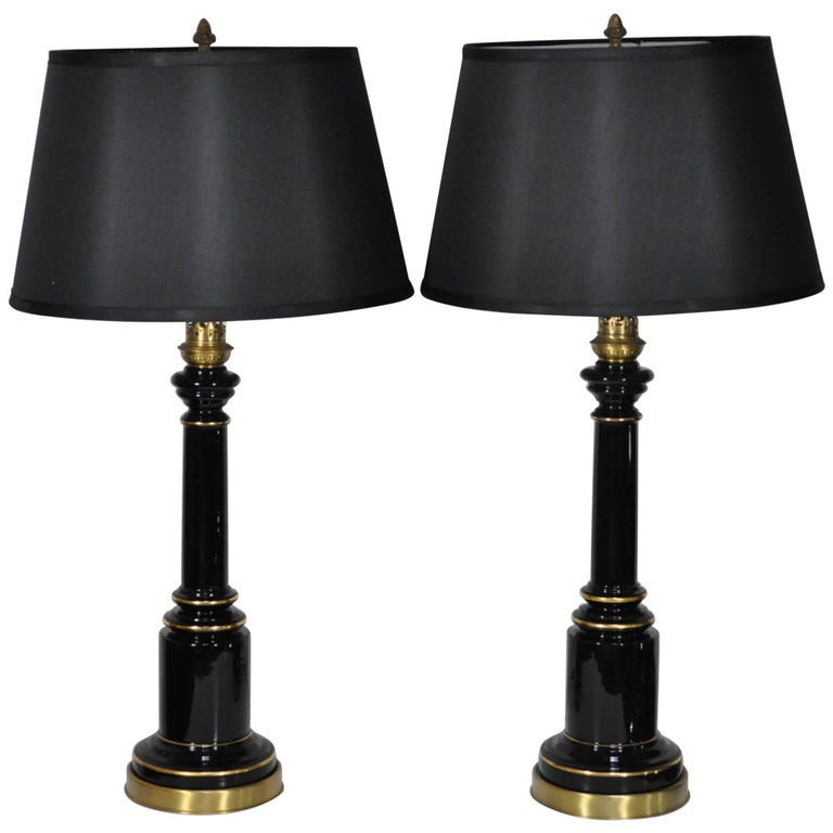 a354e17d2829 Pair Neoclassical French Empire Style Black Glass Column Shaft Table Lamps  For Sale