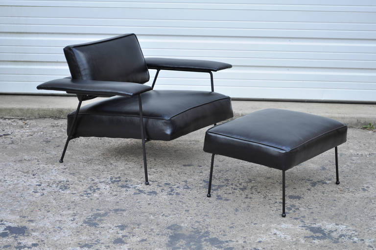 Wrought Iron and Black Leather Lounge Chair with Ottoman after Jean Royere at