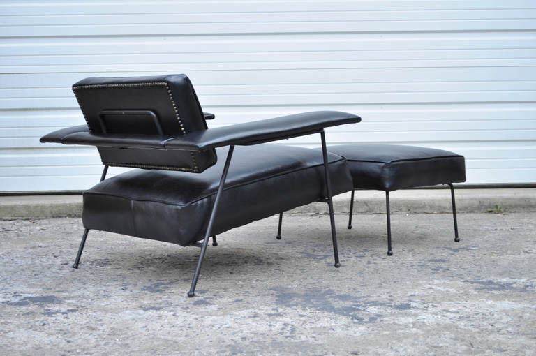 Remarkable Wrought Iron And Black Leather Mid Century Modern Lounge Chair  And Ottoman After Jean Royere