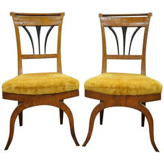 Pair of 19th C. Biedermeier Period Ebonized & Burl Walnut Side Chairs