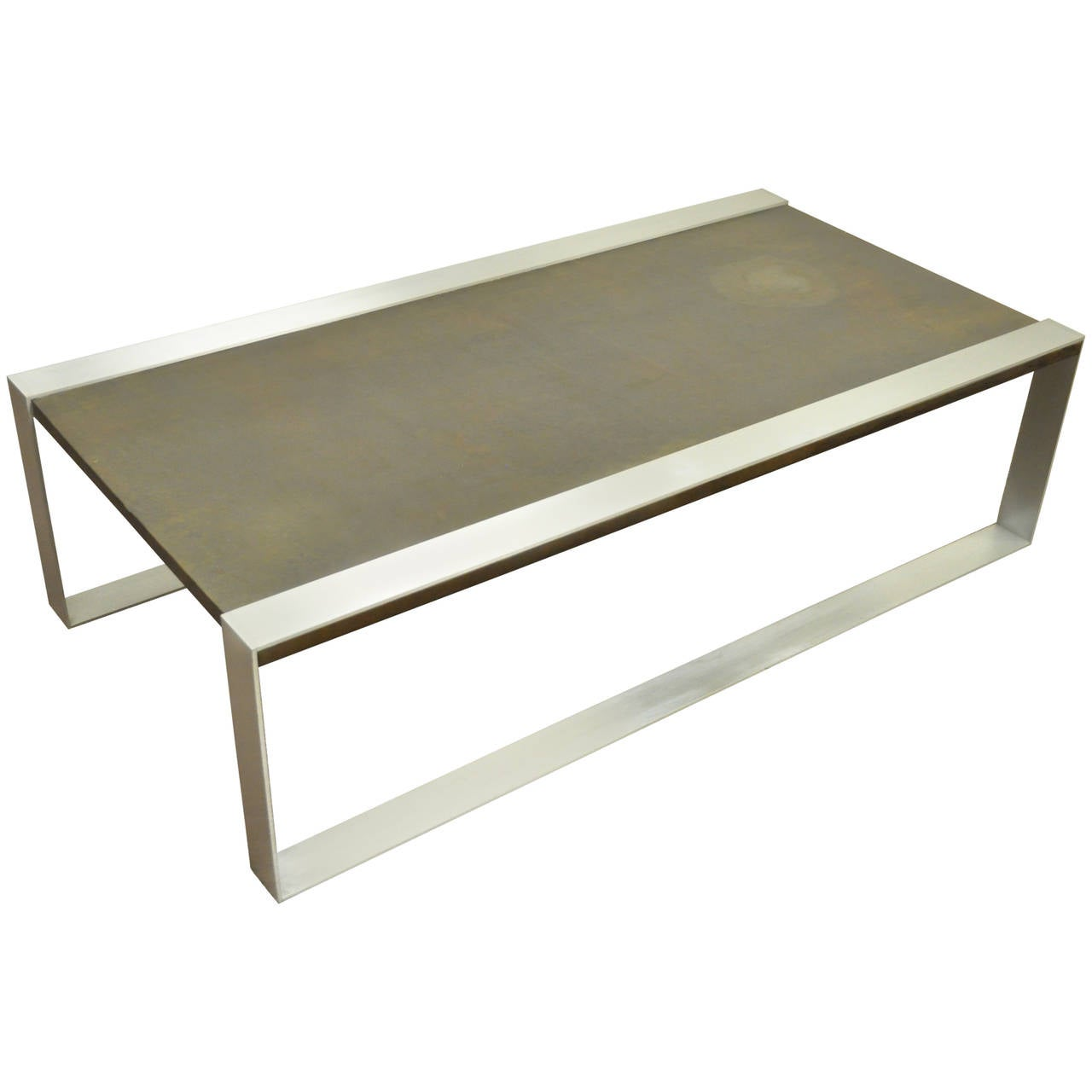Mid-Century Modern Embossed Copper and Brushed Steel Coffee Table after Laverne