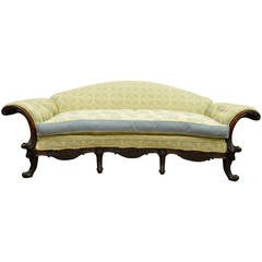 19th Century Georgian Style Rolled-Arm Carved Mahogany Curved Sofa