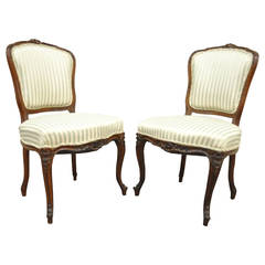 Pair of 19th Century Carved Walnut French Louis XV Style Side Chairs