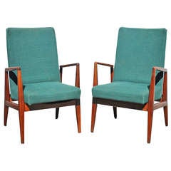 Pair of Jens Risom Design Danish Modern Solid Walnut Sculpted Lounge Arm Chairs