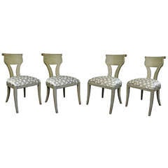 4 VIntage Scroll Back Neoclassical Style Green / Gray Klismos Dining Chairs