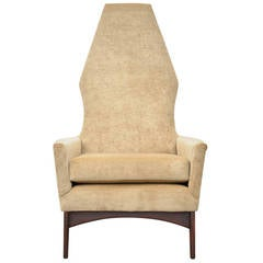 Mid Century Tall Back Lounge Chair attributed to Milo Baughman for Carsons Inc.