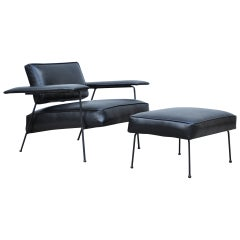 Adrian Pearsall for Craft Associates Iron Frame Leather Lounge Chair and Ottoman
